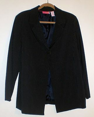 Maternity Blazer Size 16 Navy Blue Pin Stripe Jacket Lined Coat Liz Lange