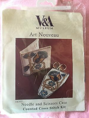 V&A MUSEUM blue floral needle scissors case counted vintage cross stitch kit