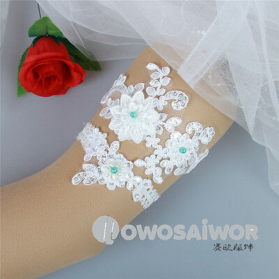 New Design Beaded Lace Applique Wedding Garter Set with Blue Pearl Handmade