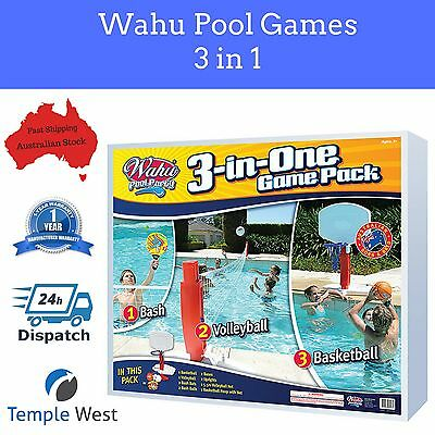 NEW Wahu Pool Party Game Pack 3 In 1 Play Multiple Games Volleyball Basketball