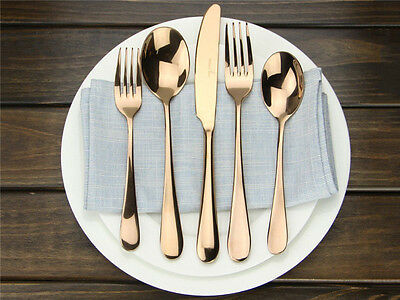 Rose Gold Plated 18/10 Stainless Steel Flatware Cutlery Silverware Dinner Set