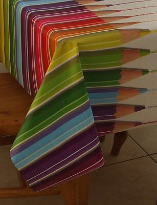 Easy Care Pvc Vinyl Rainbow Bright Crayons Waterproof Table Cloth £4.99 Metre
