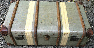vintage cloth covered wooden cabin trunk fully lined ~ project/ coffee table