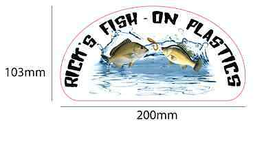 2 x RICK'S FISH ON - Outdoor Scratch Resistant Sticker / Decal - 200mm x 103mm