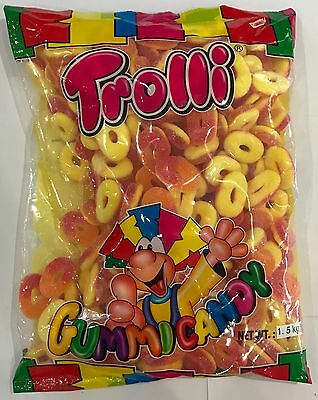 909856 1.5kg BULK BAG OF TROLLI SOUR PEACH RINGS - GREAT VALUE! - FLAVOUR JELLY!