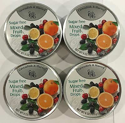 902391 4 x 175g TINS OF CAVENDISH & HARVEY SUGAR FREE MIXED FRUIT DROPS - GER