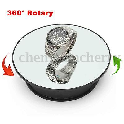 "8"" Top Mirror Glass Rotating Rotary Display Stand Turntable Battery Powered"