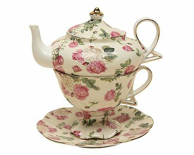 Gracie China by Coastline Imports 4-Piece Porcelain Tea for One, Stacked Teapot