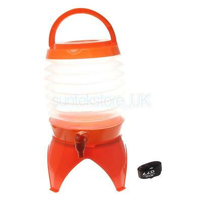5L Outdoor Portable Collapsible Camping Water Bucket Beer Container Orange