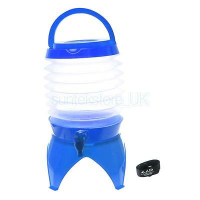 5L Outdoor Portable Collapsible Camping Water Bucket Beer Container Blue