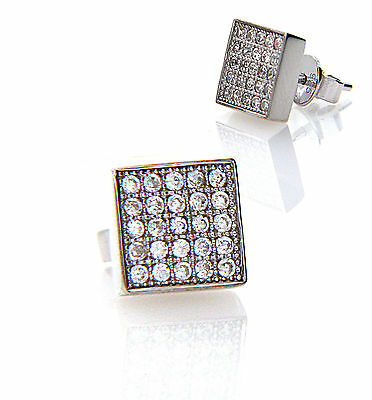 Mens 925 Silver 8mm Square Micro Pave Cubic Zirconia CZ Single Stud Earring