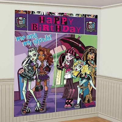 Monster High Happy Birthday Party Ghouls Scene Setter Wall Decorating Kit