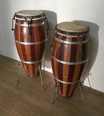 Pair Of Vintage Bongo -Conga Drums / Lamp Tables