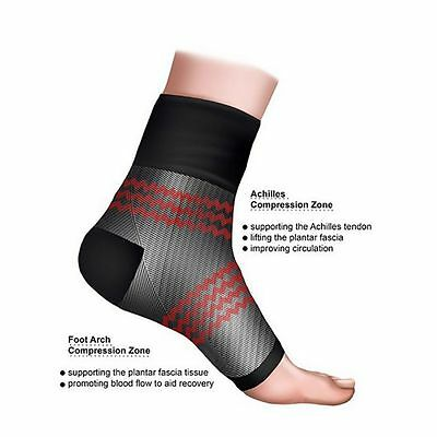 Mens Womens Angel Sleeve Ankle Compression Foot Arch Heel Pain Relief Support