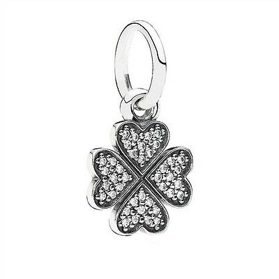 Sterling Silver EUROPEAN Charm Lucky Clover Pave CZ Pendant +FREE Pandora Cloth