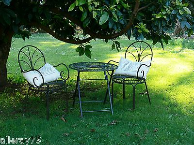 FRENCH garden 2 CHAIRS and folding TABLE SET WROUGHT IRON  QUALITY NEW