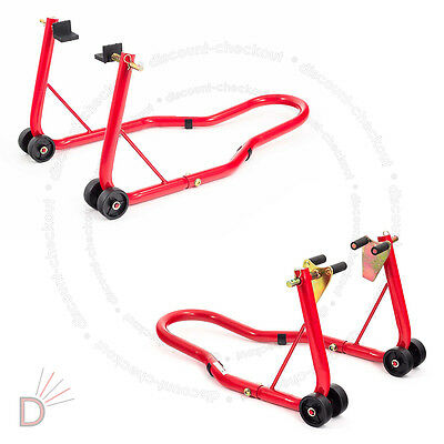 Front And Rear Motorcycle / Bike Paddock Stand / Stands Combo / Red Pair UKDC