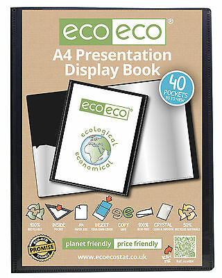 A5, A4, A3 Or A2 50% Recycled Eco Presentation Display Book 20, 40, 60 Pockets.