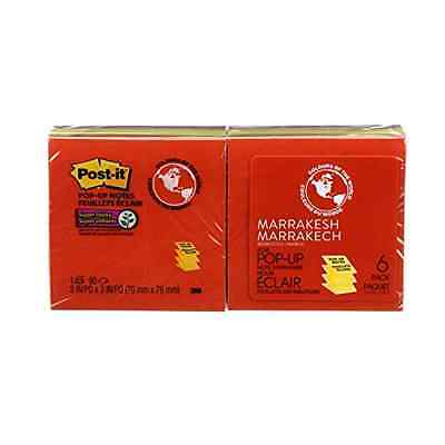 """Sticky Pop-up Notes 3"""" x 3"""" Marrakesh Collection 6 Pads/Pack 90 Sheets/Pad"""