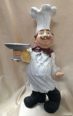 """Huge 33"""" Fat Chef Statue With Tray / Cook / Butler Statue Restaurant"""