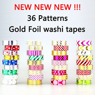 15mmX10m Gold Foil Printing Washi Tape For Christmas Decorative Masking Paper