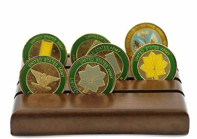 Military Challenge Coin Holder Stand (Walnut) (Wood, 4 Rows (Small))