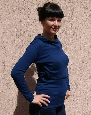 Dark Blue Navy Hooded Thick Cotton Jersey Long Sleeve Breastfeeding Top 8-16