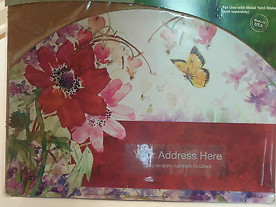 Yard Sign Address Magnet Burgandy-reddish & Pink Cosmos Flowers with Butterfly