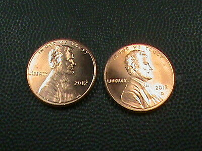 UNITED STATES   1 cent   2012  P & D   BRILLIANT UNCIRCULATED   ( TWO  COINS )