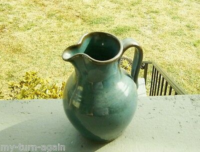 Vintage Jugtown Ware Pottery Chinese Blue Pitcher Vernon Owens North Carolina