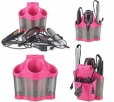 Polder Styling Station Tools Organizer Holder Hair Care Storage Solution Pink