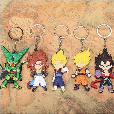 5Pcs Dragon Ball Z PVC keychain Cell Son Goku Vegeta Super Saiyan Keyring Set