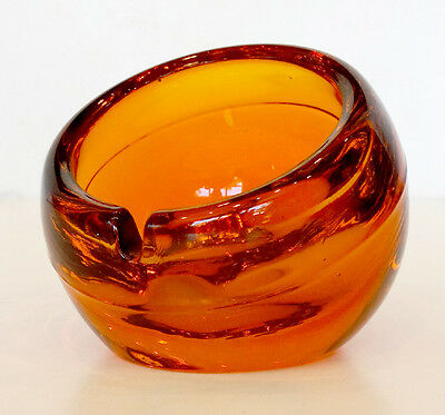 Vintage VIKING Art Glass ORANGE ORB Paperweight Ashtray / MID-CENTURY MODERN