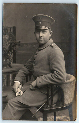 Antique WW1 GERMAN Real Photo RPPC Postcard OFFICER Soldier in Uniform