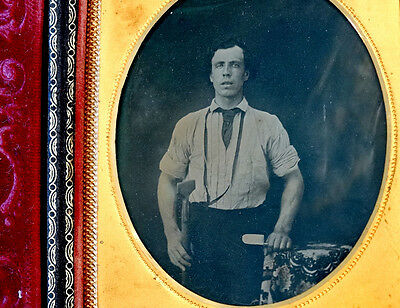 Antique OCCUPATIONAL MAN with 2 UNUSUAL KNIFE TOOLS Trade AMBROTYPE Photograph