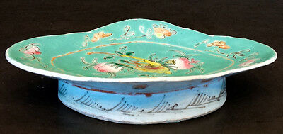 Antique CHINESE Porcelain China FAMILLE ROSE ENAMEL Serving Dish FOOTED BOWL