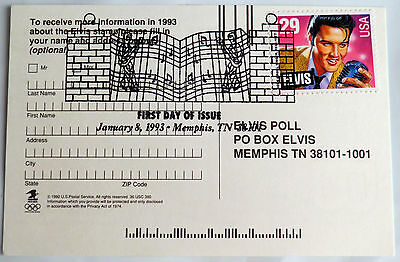 Elvis Presley First Day Stamp Cover Poll Card 29C Trading Card Stamp Memphis, Tn