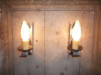 French a pair of vintage iron solid  wall light sconces nicely  detailed
