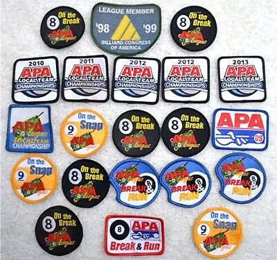 COLLECTION of APA LEAGUES CHAMPIONSHIP PATCHES-Years 2009 thru 2013
