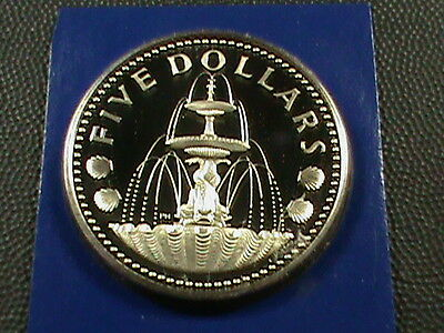 BARBADOS    5  Dollars    1975    PROOF    SILVER