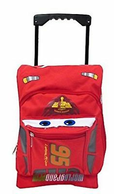 """Cars Lightning McQueen Small Toddler 12"""" Cloth Backpack Book Bag Pack W Wheels"""