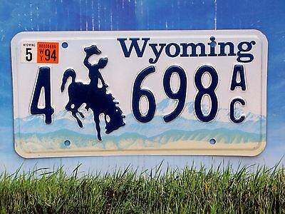 1994 Wyoming License Plate 4 698 AC Mint Cond Natural Sweetwater County