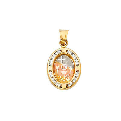 14k Real Solid Tricolor Gold First Communion CZ Oval Pendant Oro Solido Dije