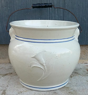 Antique Red Wing Blue Band Stoneware Lily Chamber Pot Slop Jar w/ Bail Handle