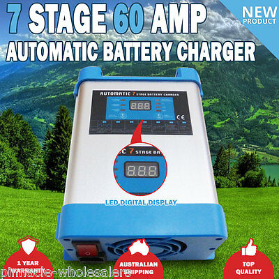 NEW 7 Stage 60 amp Fully Automatic Caravan Battery Charger Suits 40 to 400Ah