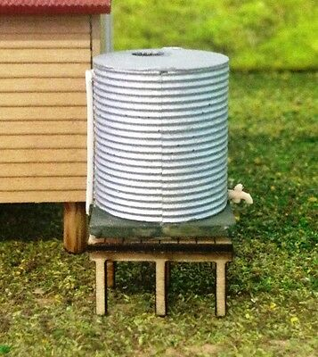 WATER TANK with Tap Pipe & Stand corrugated Unpainted Cast Resin Wood kit T'N'T