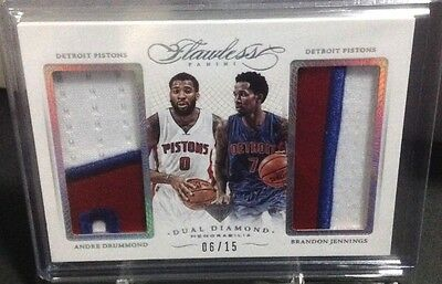 2014-15 Flawless Andre Drummond/Jennings Dual Diamond Patch #06/15 DD-DP