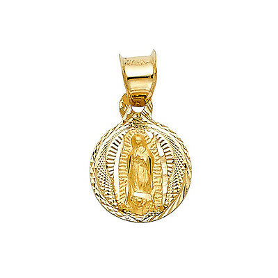 14k Real Solid Yellow Gold Virgen Guadalupe Diamond Cut Pendant Oro Solido Dije