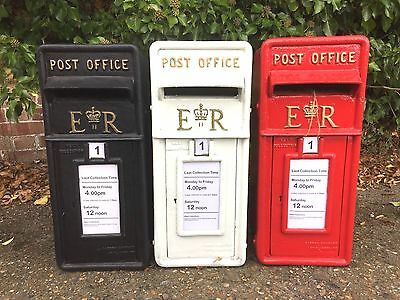British ER Post Box Royal Mail Pillar Cast Iron Post Office - Red, Black & White