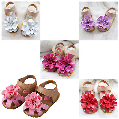 Toddler Princess Flower Summer Sandals Strappy Leather Baby Girl Shoes Gifts WS